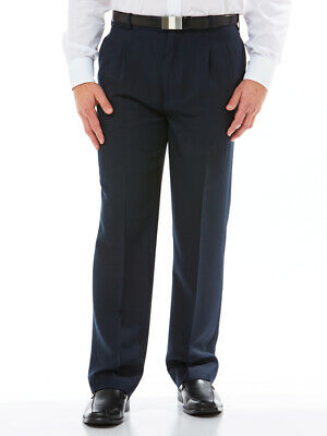 Robert Huntley ClassIc Pleated Front Trouser Navy