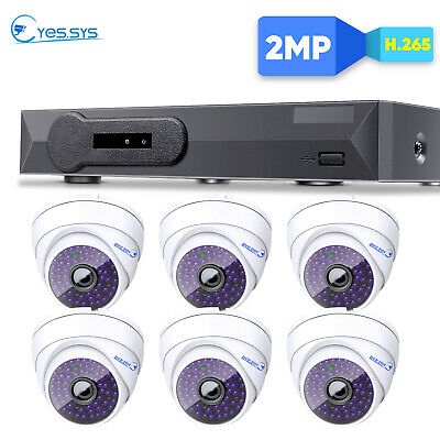 Eyes.sys 6PCS 2.0MP IP DOME Camera 8CH 1080P NVR PoE HD H.265 Security System AU
