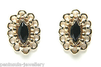 9ct Gold Sapphire Fancy Stud earrings Made in UK Gift Boxed Studs