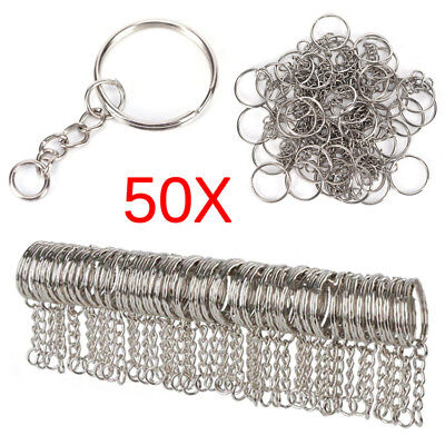 50x 25mm Polished Silver Keyring Keychain Split Ring Short Chain Key Rings New
