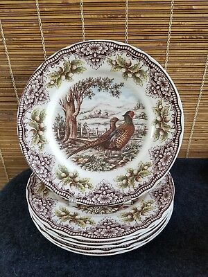 NEW Victorian English Pottery (6) Pheasant Dinner Plates 11inch