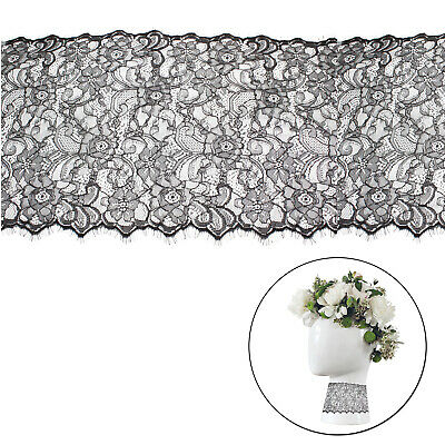 320mm Wide Black Scalloped Eyelash 3meters Lace Fancy Embroidered Floral Pattern