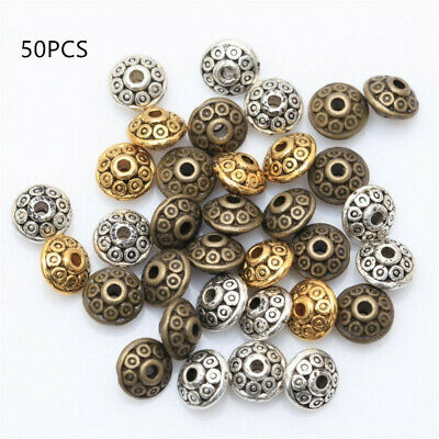 50pcs Tibetan Silver Metal Loose Oval UFO Spacer Beads Wholesale Jewelry Making