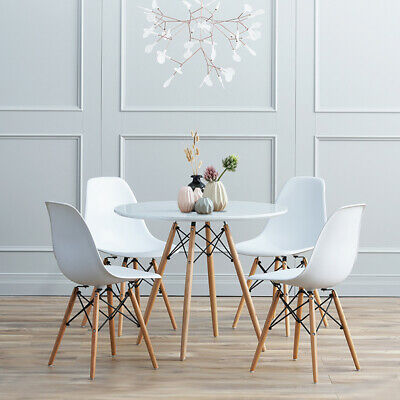 Eiffel Rectangle Round Dining Office Study Coffee Table and 4 Chairs Set White