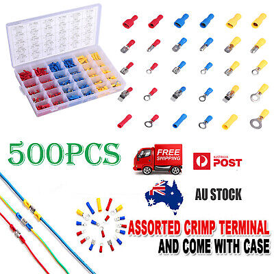 500X Electrical Wire Terminal Assorted Insulated Crimp Connector Spade Set Kit