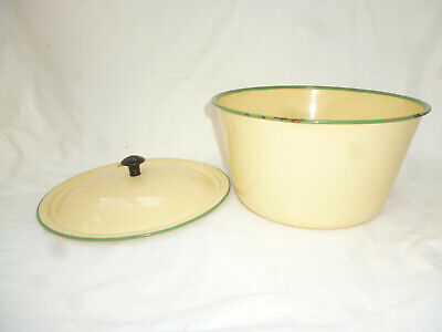 VINTAGE 1950s CREAM with GREEN ENAMEL WARE 21cm LIDDED BOWL - clean & shiny cond