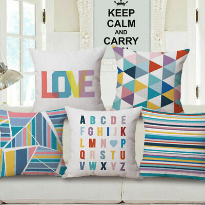 "Decorative Bright Color Geometry Throw Pillow Cover Case Cushion 18""X18"" Couch"