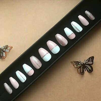 Hand Painted False Nails Coffin (Or Any Shape/Long) Pink White Bronze. Stick on.