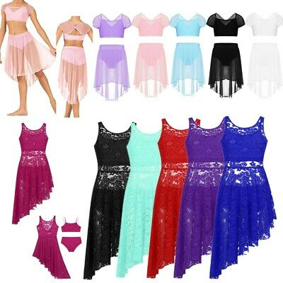 Girls Lyrical Dance Dress Ballet Gymnastics  Leotard Lace Crop Top+Briefs/ Skirt