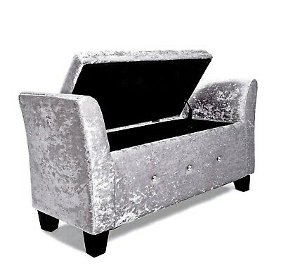 Window seat Chaise Lounge chair storage ottoman Silver crushed velvet footstool