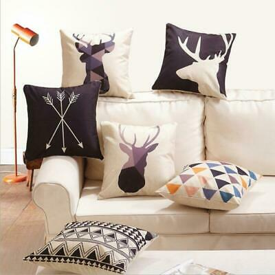 "18"" Nordic Geometry Deer Cotton Linen Throw Pillow Case Cushion Cover Home Decor"