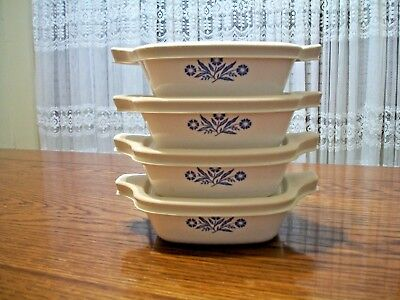 Vintage Corning Ware Cornflower Blue Lot Of 4 Petite Pans With Lids/covers~P-41