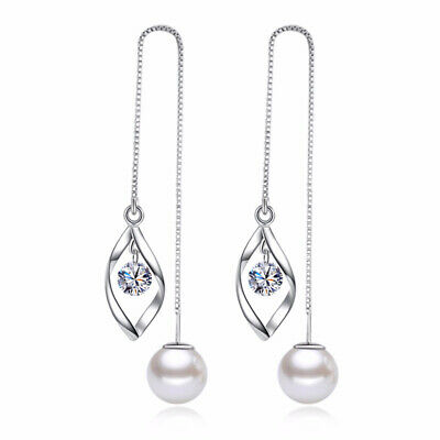 Jeweller 925 Sterling Silver Fringed Pearl Drop Zircon Wire Women Holiday Gift
