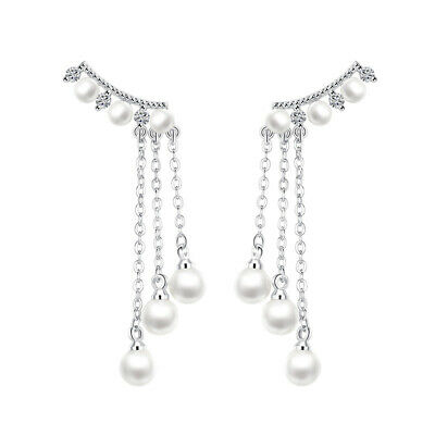 New Fine 925 Sterling Silver Stud Earrings Tassel Pearl Drop Earrings Wedding