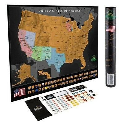 scratch off world map 61cm X 42cm Black/Gold. Includes Scratcher And Stickers