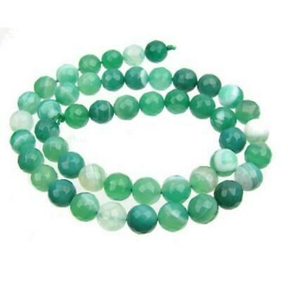 Banded Agate Faceted Round Beads 6mm Green/White 60+ Pcs Gemstones DIY Jewellery