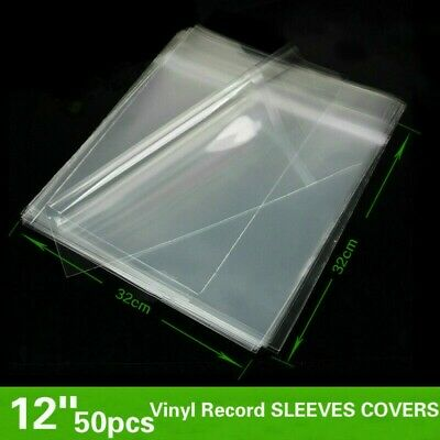 "50X 12"" LP Vinyl Record Sleeves Cover Album Outer Plastic Anti-Static Clear Home"