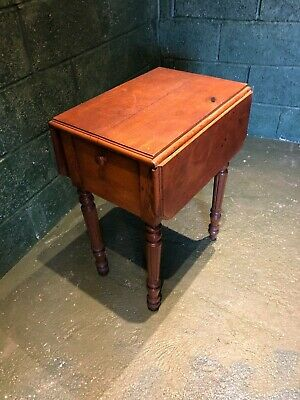 Antique French small drop leaf pine table