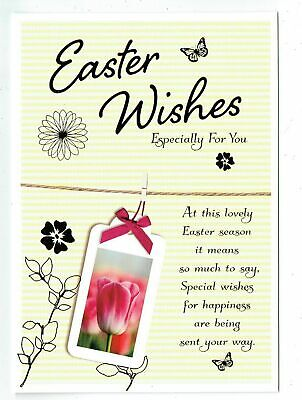 Easter Card  With Tulip And Sentiment Verse Easter Wishes Especially For You
