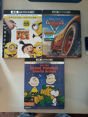 Despicable 3 + Cars 3 + It's The Great Pumpkin Charlie Brown:   Blu-Ray 4K's!