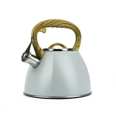 Grey Whistling Kettle 3.0L Stainless Steel Induction Gas Stove Modern Rapid Boil