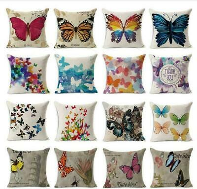 Butterfly Cushion Cover Pattern Decorative Pillow Case Linen Square Throw