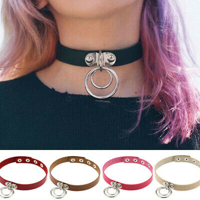 Choker Collar Necklace Ring Leather Pendant Gothic Punk Bracelet Women Girls NEW