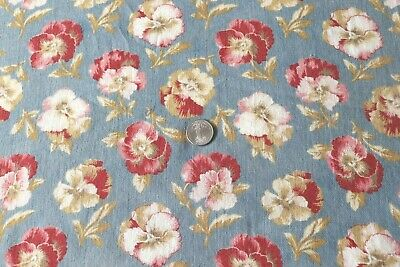 """Antique 19thC Red Floral Pansies On Blue Ground Cotton Fabric~L-68""""X W-26""""*"""