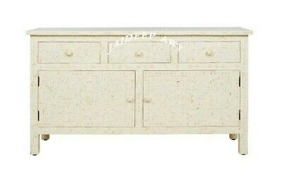 Handmade Bone Inlay White Flower Solid Wood Commode Dresser Chest of Drawer