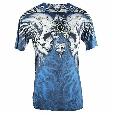 New Xtreme Couture Shirt Skulls Wings 2 Blue/Black/Silver By Affliction 11294