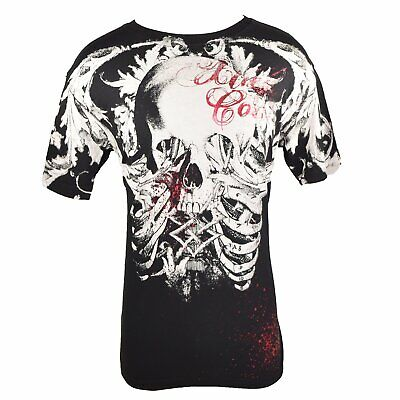Ew Xtreme Couture Shirt Skull And Bones 11 Black/Red Large By Affliction 11308