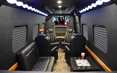 2018 Mercedes-Benz Sprinter 3500 Limo 170 EXT Black Luxury Executive Limo Party Bus Captain Chairs - New, Clean, Good Price