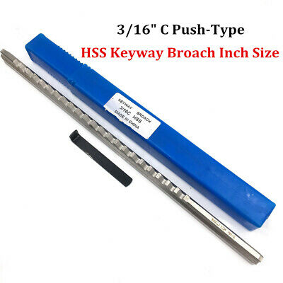 "3/16"" C Push Type Keyway Broach 3/16 Inch Size HSS Cutter CNC Metalworking Tool"