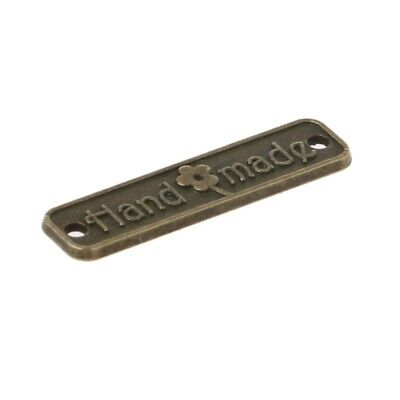 10 x Handmade Label Metal Tags Love 25mm Bronze Tag Craft Hand Made Crafts