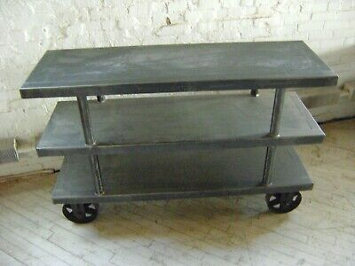 Urban Industrial Gray Steel 3 Shelf Rolling Display Stand  Cart
