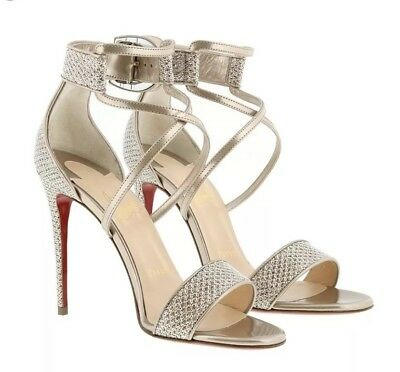 official photos 9a1fd 8e056 CHRISTIAN LOUBOUTIN CHOCA Lux Glitter Criss Cross Ankle Strap Sandal Size  39 / 9