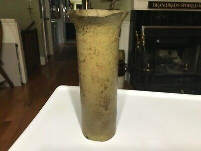 Vintage Hand Forged Brass Tall Vase Hammered/ 1940's