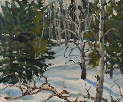 "GISELA FELSBERG Oil Painting Winter Landscape 12x14"" Canadian Listed Alberta"