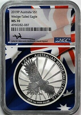 2019 P $1 Australia Wedge Tailed Eagle NGC MS70 Mercanti Signed