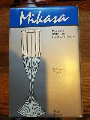 "Mikasa Park Lane SN101/007 Four Fluted Champagne Full Lead Crystal 6.75"" 4-pc/Pc"