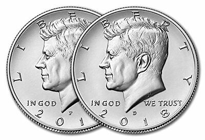 2017 & 2018 P&D Kennedy Half Dollars Clad 4 Uncirculated Coins in 2x2 FREE SHIP!