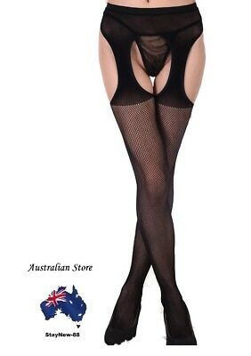 Women Lingerie Open Crotch Fishnet Stockings Pantyhose Crotchless Tights Large