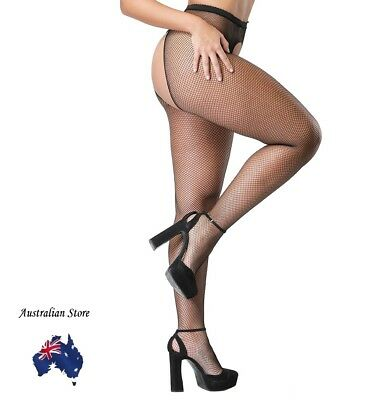 Black Fishnet Crotchless Pantyhose stockings Plus size Tall