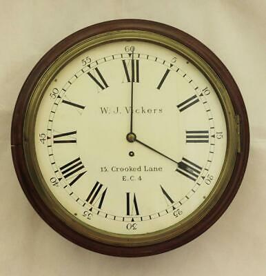 "Early English Georgian 8 Day Fusee 14"" Dial Clock  W J Vickers 13 Crooked Lane"