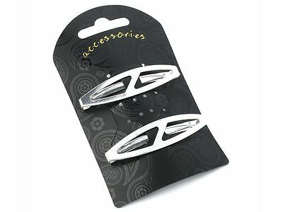 Silver Oval Clips In End Metal Barrette Hair Clips Grips Slides