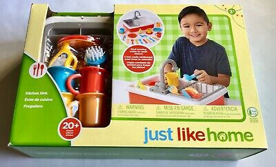 JUST LIKE HOME Kitchen Sink 20+ pieces Play Dishes Running Water Ages 3+  (New)