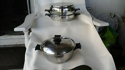 """Rena-Ware 18-8 S/Steel 3 Ply Cookware 3 Qt, 4 Qt, 9 1/2"""" Skillet Dome Lid 4 Pc**"""