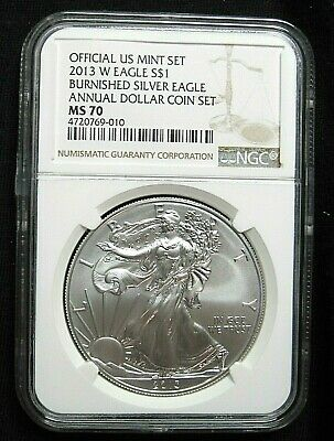 2013 W Burnished Silver Eagle Annual Dollar Coin Set NGC MS 70 Beauty