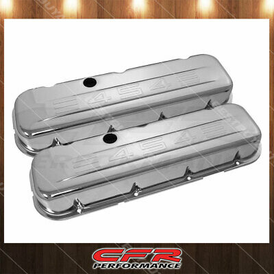 """Chevy BBC 454 Chrome /""""454 Stamped/"""" Steel Valve Covers Short w// Baffled Hole"""