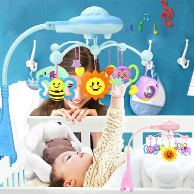 Baby Musical Crib Bed Cot Mobile Planes Light Nursery Lullaby Toy with Remote DZ